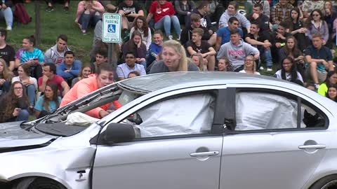 Greenfield High School stages mock crash involving drinking and texting and driving