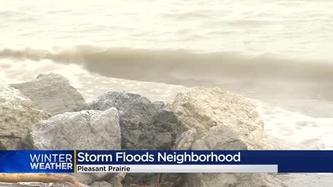 Floodwaters threaten Pleasant Prairie homes after winter storm, high winds